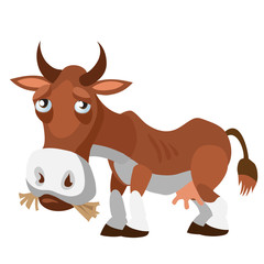Sad brown cow in cartoon style isolated