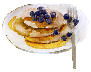 watercolor pancakes on a plate on a white background
