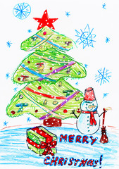 christmas tree and snowman with gifts, child drawing, top view hands with pencil painting picture on paper, artwork workplace