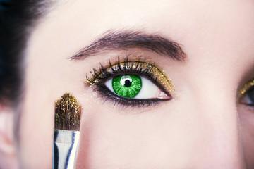Beautiful insightful look green  woman's eyes