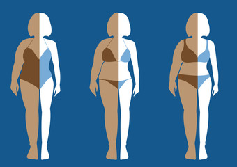 Before and after of woman exercise changes in swimsuit,Vector illustrations