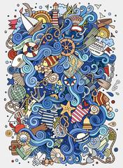 Cartoon hand-drawn doodles nautical, marine illustration