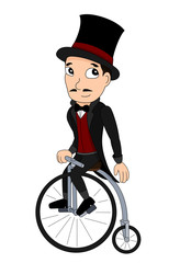 Illustration of a man with a top hat riding a penny-farthing, 19th century velocipede, isolated on a white background