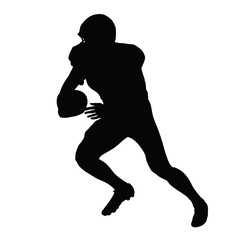 American football player, vector isolated silhouette. Running fo