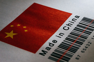 Made in China Flag with Barcode Product Close up
