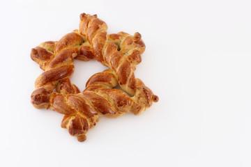 Challah bread shaped as David's star