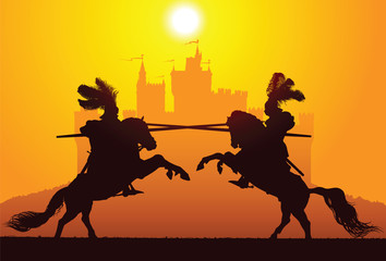 Two equestrian knights with the castle on the background