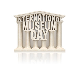 International museum day (creative info awareness concept).Text words as stone marble museum building in ancient classic style with columns as symbol of world museum day or cultural event
