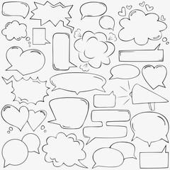 Speech bubbles with hearts and clouds