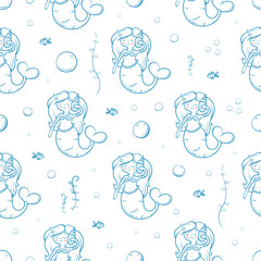 Seamless  pattern with cute cartoon mermaids on  white  background. Underwater life. Children's illustration. Vector image.