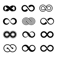 Infinity symbol vector set. Infinity sign, endless infinity, loop infinity illustration