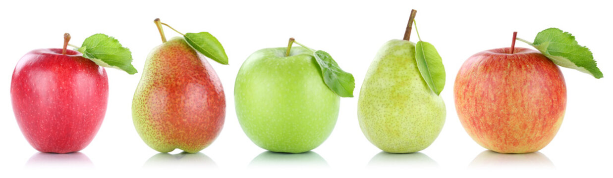 Apfel Frucht Birne Birnen Äpfel Früchte Obst in einer Reihe Fr