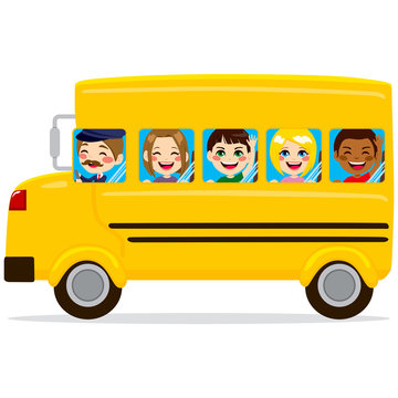 Illustration of school bus with cute happy kids and driver