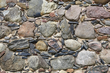 Hand made ancient stone wall.