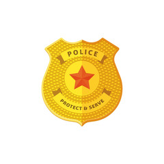 Police badge vector illustration isolated on white background, detailed golden police badge icon, flat cartoon design