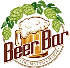 Vector illustration logo of beer pub bar.