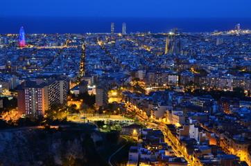 Evening Cityscape over Beautiful Barcelona from Turo de la Rovira
