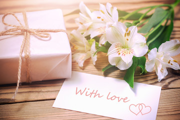 Morning surprise - flowers and gift box