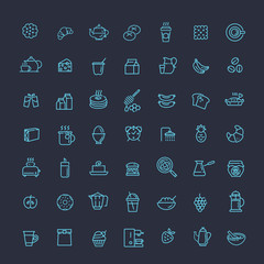 vector outline breakfast icons