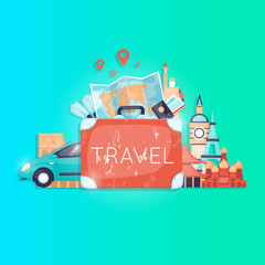 Travel by car. World Travel. Planning summer vacations. Summer holiday. Tourism and vacation theme. Flat design vector illustration