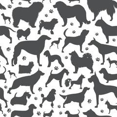 Dog seamless pattern. Heatlh care, vet, nutrition, exhibition