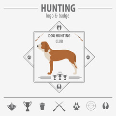 Hunting logo and badge template. Dog hunting, equipment.  Flat d