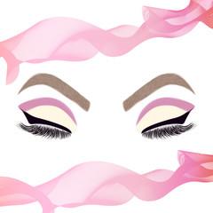Woman eyes with fashion make-up. Fashion eye makeup. Beauty salon logo. Pink ribbon.