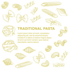 Traditional pasta sketch is great design element for italian restaurants and pasta restaurants.