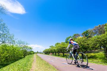 多摩川 新緑のサイクリングロード