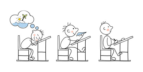 Funny vector illustration -- students in the classroom