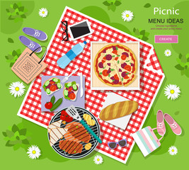 Cool graphic vector concept of picnic for summer vacation with barbecue grill, pizza, sandwiches, fresh bread, vegetables and bottle of water laid out on a red and white checked cloth.