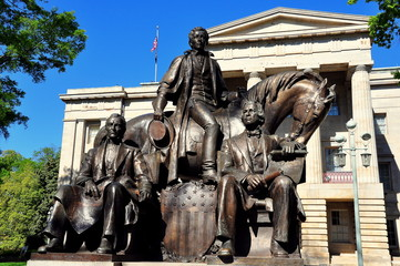 Raleigh, North Carolina - April 18, 2016:  Three Presidents Sculpture (James K. Polk, Andrew Jackson, and Andrew Johnson) at the North Carolina State Capitol Building *