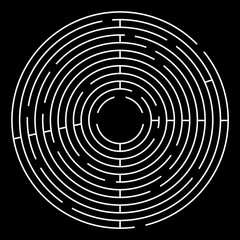 Maze Circle Vector Illustration. White Maze on Black Background.