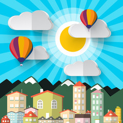 Flat Design Paper Cut City. Abstract Vector Mountains City. Sky with Clouds and Hot Air Balloons. Retro Vector Houses.