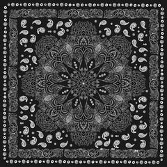 Paisley and peacock. Bandana print with  design for silk neck scarf.Traditional ethnic pattern. Black and white vector image.