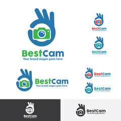 Best Photo Shoot Logo, OK Hand Gesture with Camera