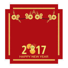 Chinese New Year 2017 for greeting card, Year of rooster