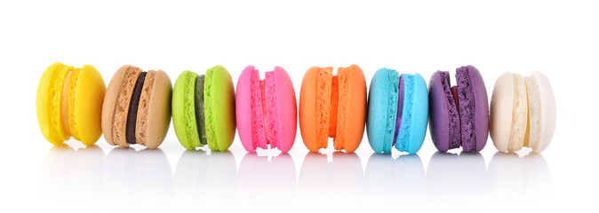 Printed kitchen splashbacks Macarons colourful french macaroons or macaron on white background
