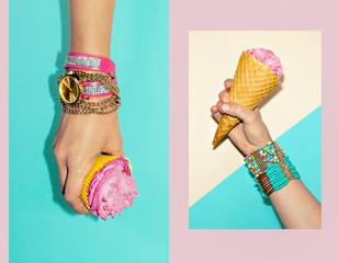 Vanilla Sweet Summer. Fashion accessories, stylish bracelets and