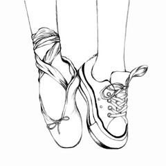 Foot wear ballet shoes and sneakers. Black and White line art by Hand drawn illustration. Line art of lifestyle and hobbies. Vector Illustration of pointing shoes.