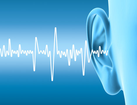 Human ear with sound waves, artwork