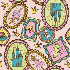 Seamless pattern with princess, frog and castle