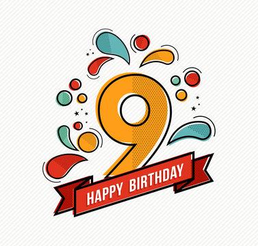 Colorful happy birthday number 9 flat line design
