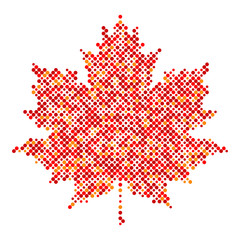 Maple leaf isolated dot abstract design symbol, Sugar maple icon, vector illustration