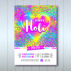 Happy Holi poster A4, Flyer, Banner or template design for Indian Festival of Colours, Happy Holi celebration. Vector illustration