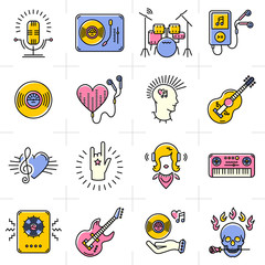 Music icons set Rock punk jazz symbols in the trendy line art style. Skull icon, notes, instruments, guitar, dj. Vector music illustration