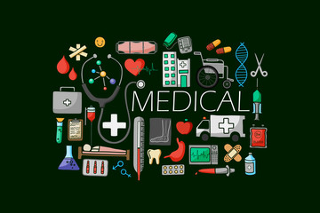 Flat line art design of Medical concept