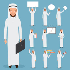 set of arab man business character at office work. people charac
