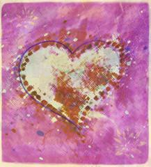 Fototapete - Illustration Coeur  Rose et Jaune avec Effets Taché