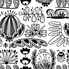 doodle seamless background with flowers, bug and butterfly